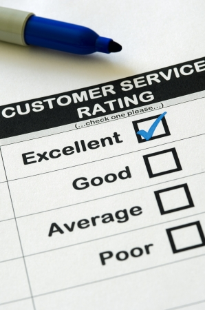 excellent: Customer Service Survey With Excellent Rating Chosen Stock Photo