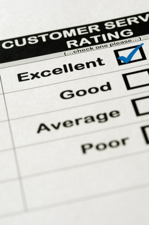 Customer Service Survey With Excellent Rating Chosen Stock Photo