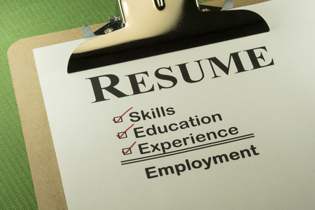 Successful Candidate Resume Requires Skills, Education And Experience To Find Employment Archivio Fotografico