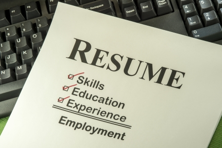 expertise concept: Successful Candidate Resume Requires Skills, Education And Experience To Find Employment Stock Photo