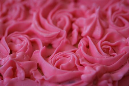 Closeup Of Pink Rose Frosting Decorated Cake Stock Photo