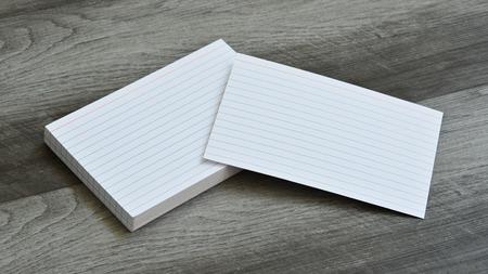 Blank Flash Index Note Cards on Dark Grey Wood Background