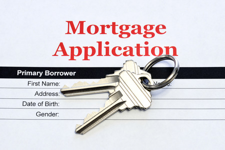 Real Estate Mortgage Application Loan Document With House Keys Reklamní fotografie
