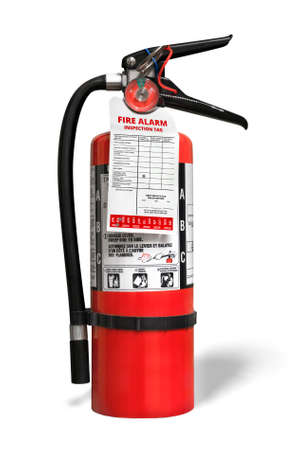 Fire extinguisher with inspection tag. Portable ABC or multi-purpose dry chemical fire extinguisher with monoammonium phosphate. Isolated on white.