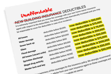 Unaffordable building insurance deductibles. Insurance crisis: condo / apartment owners and strata buildings. Letter to homeowners outlining actions. List of previous deductibles and new deductibles.