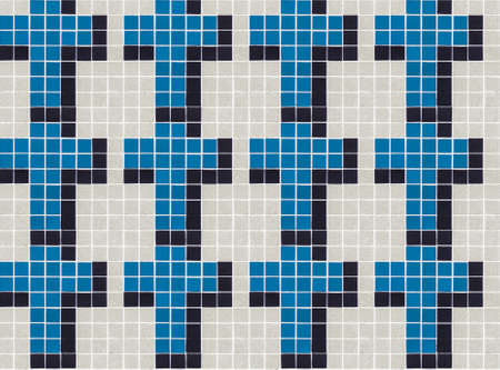 Seamless Christian cross tile pattern. Small tiles with grout. Colors: beige / cream of off-white, blue and black.