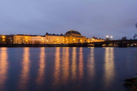 night photography of Vltava river in Prague Stock Photo