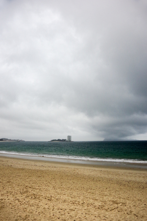 On the Samil beach before storm, Vigo, Galicia, Spain, Europe Stock Photo