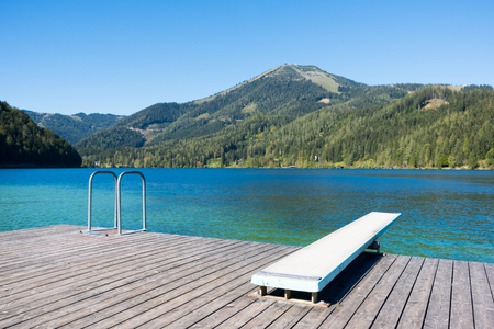 Swimming time on the lake Erlaufsee, Mariazell, Austria, Europe