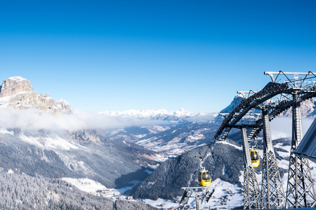 A cable car with mountain panorama, Alta Badia, Italy, Europe Stock Photo - 123635536