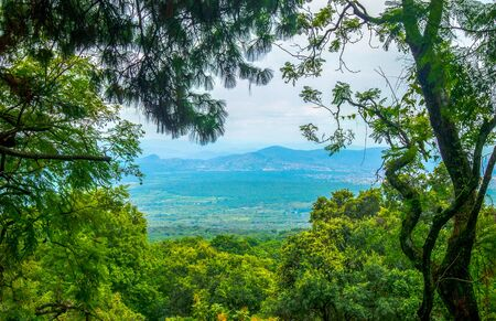 scenic landscape mexico blue sky green trees mountain artistic