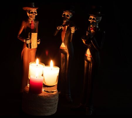 halloween dead mariachi musician muerto candles velas white red darkness