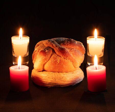 halloween dead pan muerto candles velas white red darkness