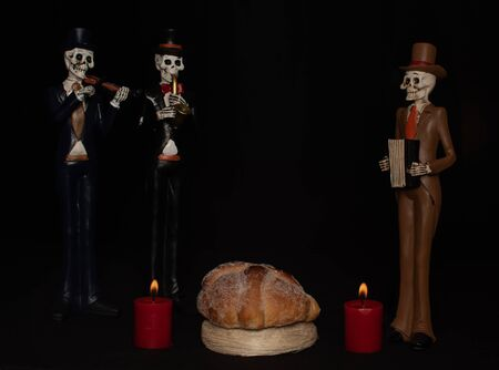 halloween dead mariachi musician pan muerto candles velas rojas darkness