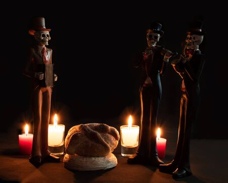 halloween dead mariachi musician pan muerto candles velas white red darkness