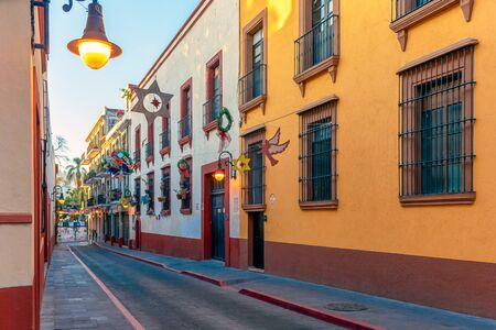 beautiful colonial street mexico colorful traditional exterior town Stok Fotoğraf