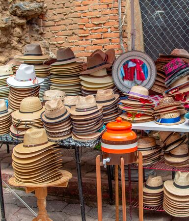 traditional street typical country hat sale little mexican town Stok Fotoğraf