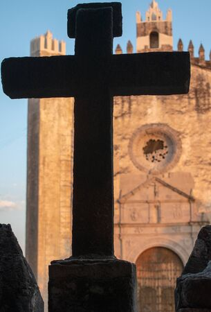 church cross christ catholic shadow background religion antique ancient traditional typical mexico