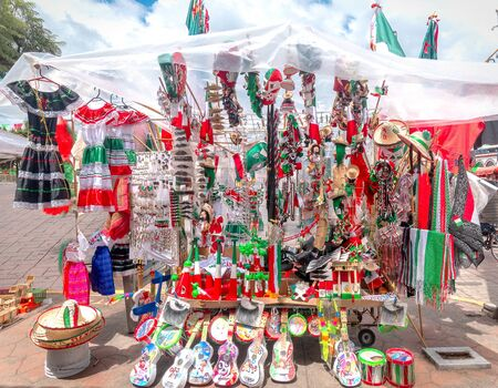 Mexican merchandise Independence Day flags sarapes toys jewelry hats mexico fiestas patrias Stok Fotoğraf