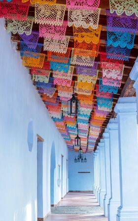 mexican colonial beautiful aisle antique decorated paper colored flags old traditional