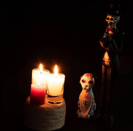 halloween dead cat katrina pan muerto candles velas white red darkness