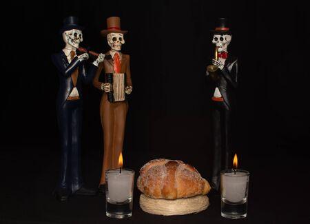 halloween dead mariachi musician pan muerto candles velas white darkness