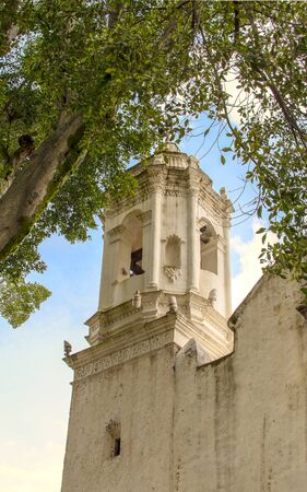 ancient catholic tower church mexico flower decoration green old tree blue sky no people front view Stok Fotoğraf