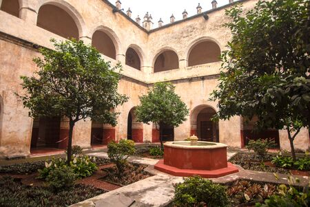 interior indoor architecture ancient catholic convent mexico wall decoration no people