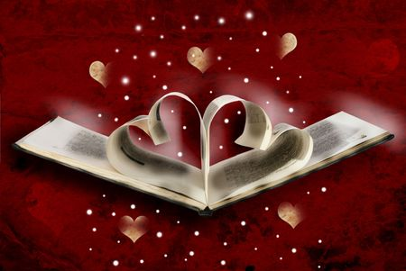 Design: the curtailed sheets of the book in the heart form, the colourful red background decorated with hearts Stock Photo