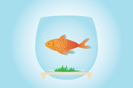 Goldfish in aquarium, on blue and gentle background (vector and illustration)  イラスト・ベクター素材