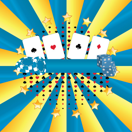 Illustrated banner casino: games, cards, chips, dice, poker, money and luck Vector