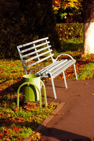 Old Bench by the park in Campus. Stock Photo