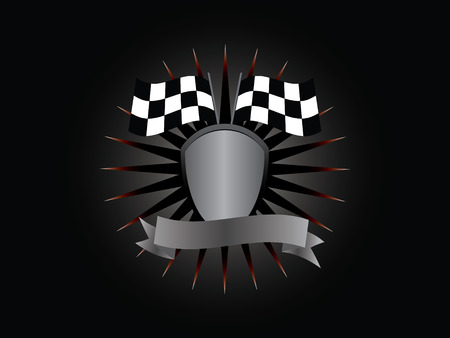 The emblem of the winner, shield, flag, banner, lettering on a black background. Vector