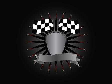 The emblem of the winner, shield, flag, banner, lettering on a black background. Illustration