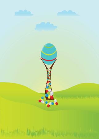 avuç: Festive Easter illustration. A large Easter egg, which grows on trees and green sunny meadow. Çizim