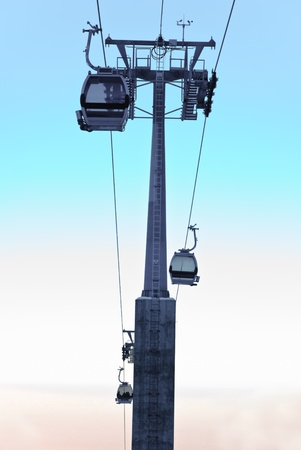 Aerial tramway in the mountain. Also known as cable car. photo