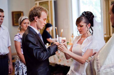 Wedding of newlyweds in the church. Kazakhstan - Almaty, 18 July 2010 Stock Photo - 9364198