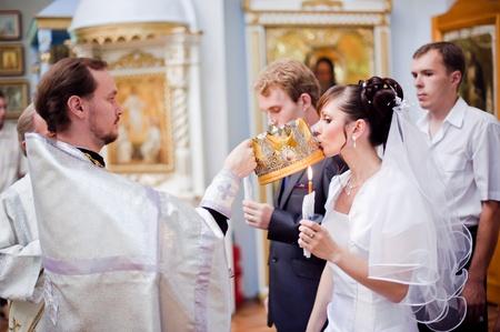 Wedding of newlyweds in the church. Kazakhstan - Almaty, 18 July 2010 Stock Photo - 9364193