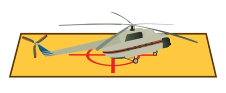 Large passenger helicopter standing on the roof Vector