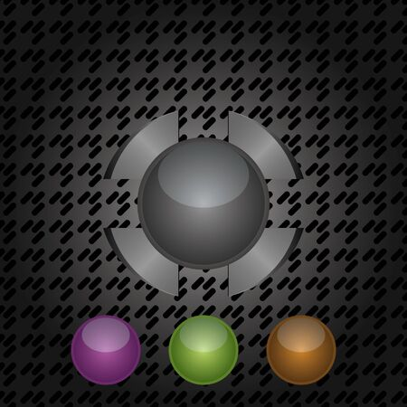 Abstract design transparent buttons in different colors on a dark metallic background. Vector
