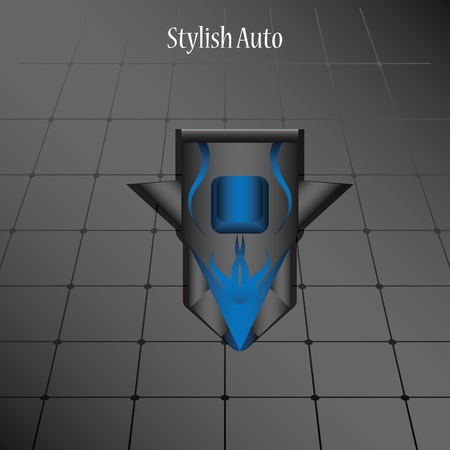 Vector model stylish car on a dark background. Top view Illustration