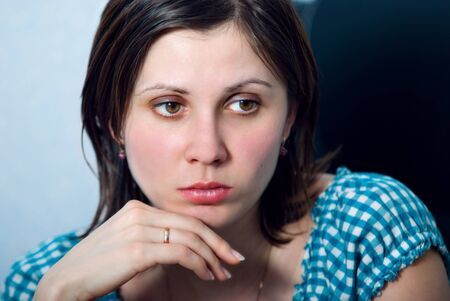 Beauty close-up portrait young woman face  photo