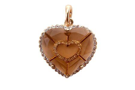 Heart shape diamond isolated on the white background. photo