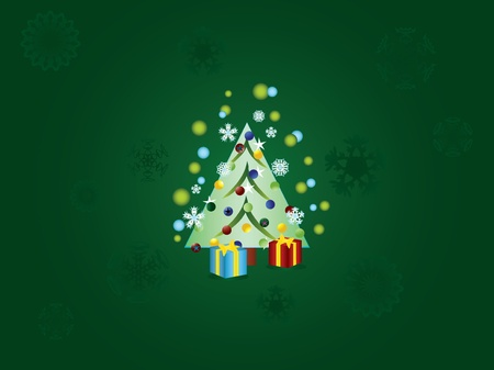 Christmas tree decorated with holiday toys and gifts. Christmas background Vector