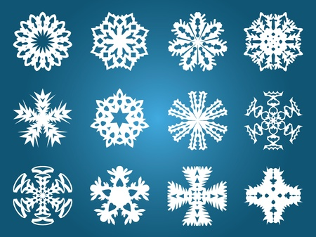 Set collection beautiful of snowflakes. Vector