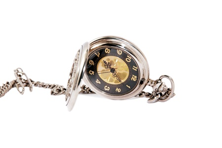 Photo of opened old vintage pocket clock against the white background Stock Photo - 11746475