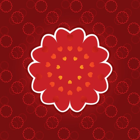 Pattern snowflake shape red heart. Vector