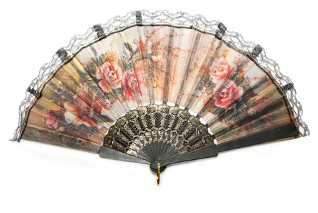 Beautiful Chinese fan isolated on white background. Stock Photo