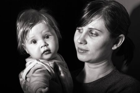 Black and white portrait mother with baby photo