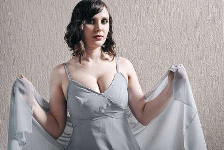 Retro portrait young attractive ladies in dress  photo